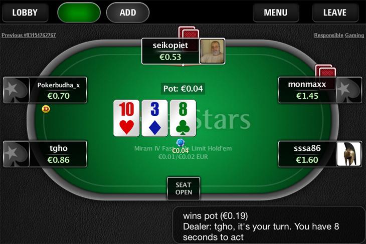 PokerStars mobiilipöytä